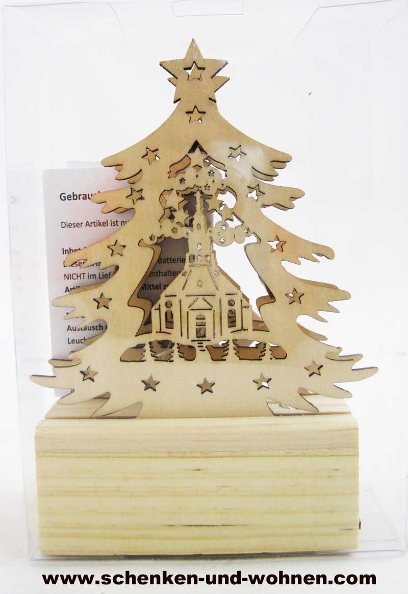 Mini-LED-Laserholz-Baum - Seiffener Kirche - für Batteriebetrieb 13 x 7 x 11 cm