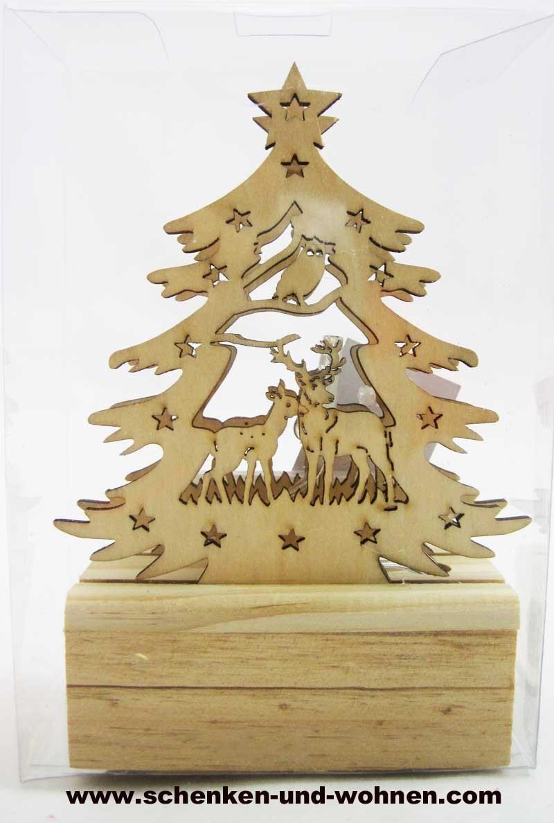 Mini-LED-Laserholz-Baum - Waldtiere - für Batteriebetrieb 13 x 7 x 11 cm
