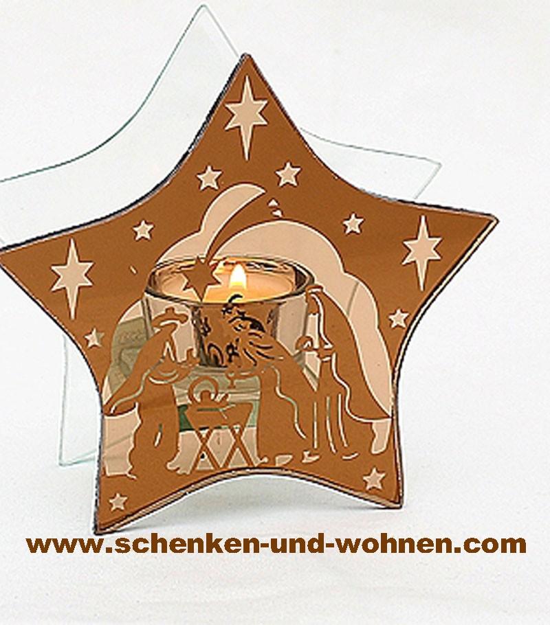 Modernes Teelicht aus Glas Stern kupfer 13,5 cm Heilige Familie