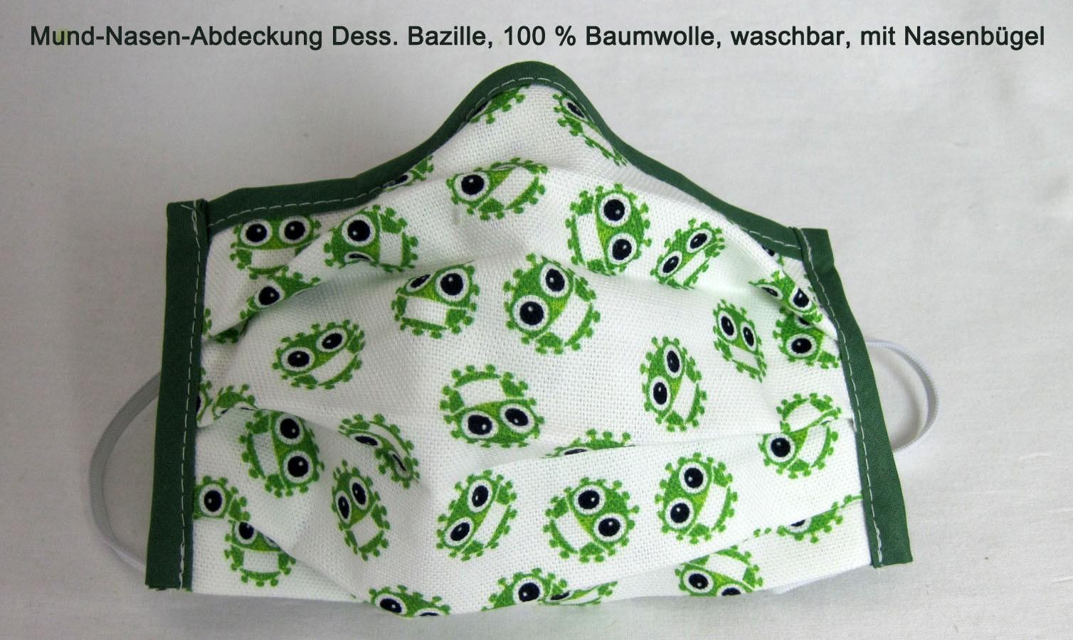 Mund-Nasen-Abdeckung Bazille ca.17x10 cm  mit Gummi