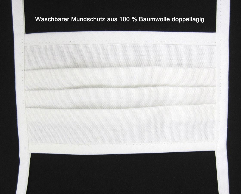 Waschbare Mund-Nasen-Abdeckung aus 100 % Baumwolle 17x10 cm weiss/natur