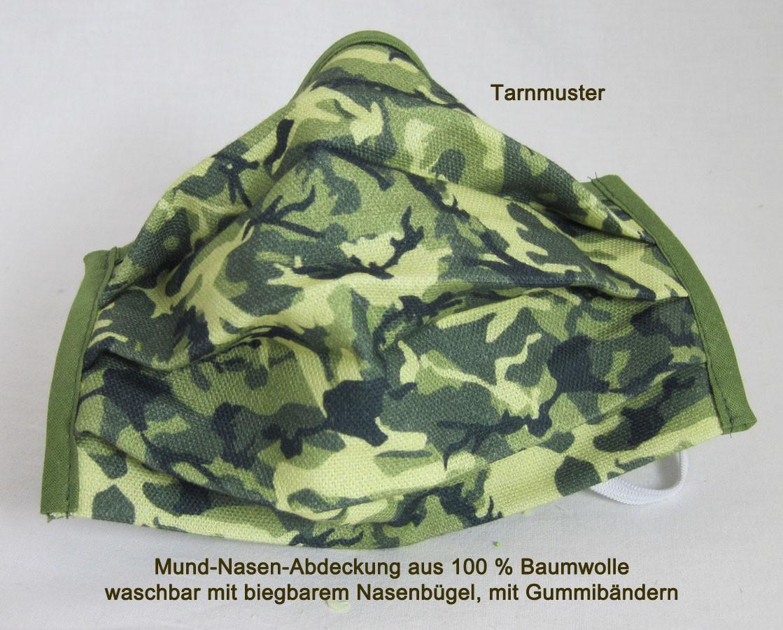 Mund-Nasen-Abdeckung Tarnmuster zum Männertag ca.17x10 cm  mit Gummi