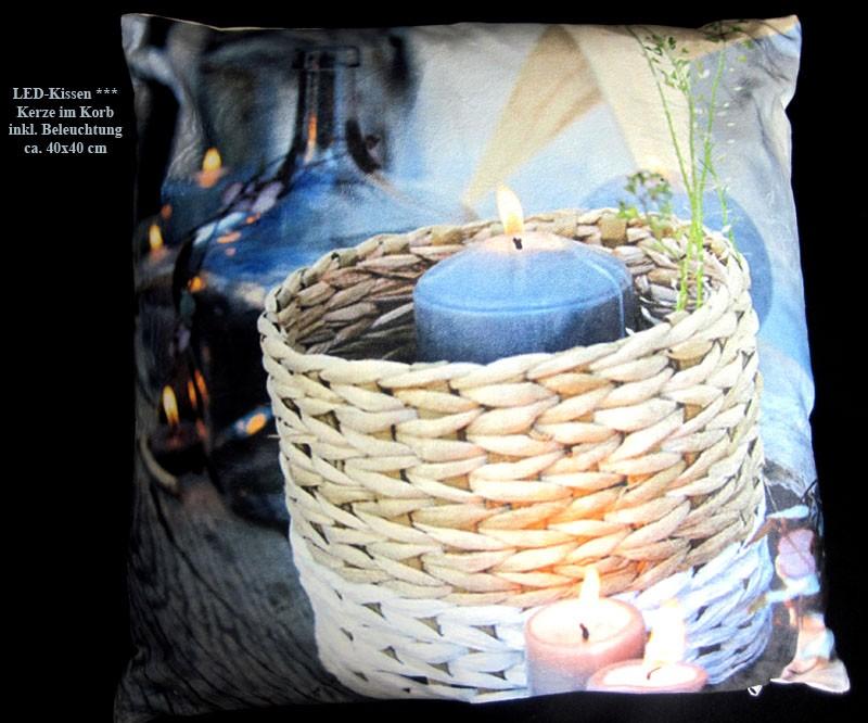 """LED Leuchtkissen """"Kerze im Korb"""" 40x40cm mit Füllung"""