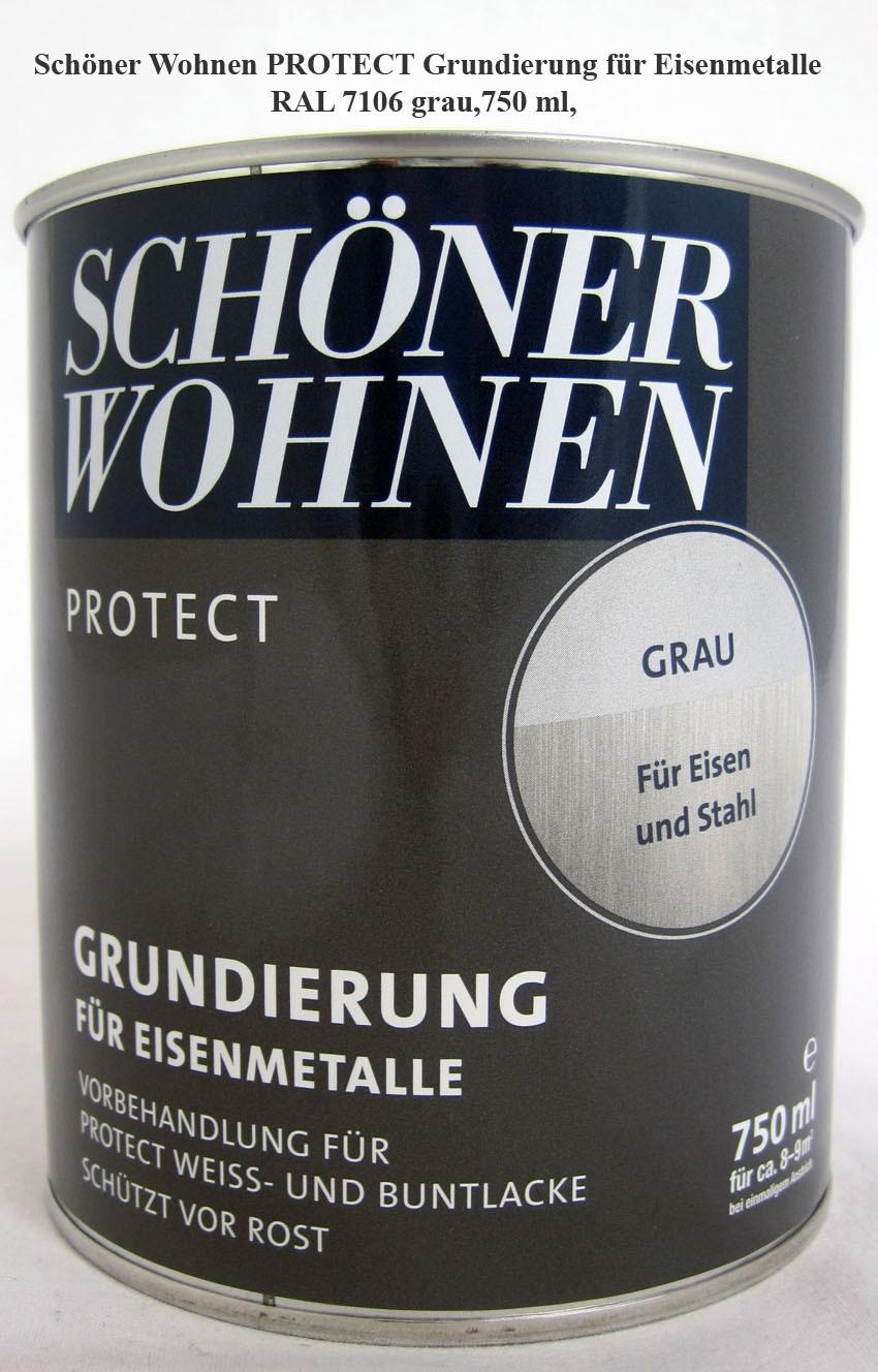 Schöner Wohnen Protect Grundierung für Eisenmetalle 0,75 l  RAL 7106 grau