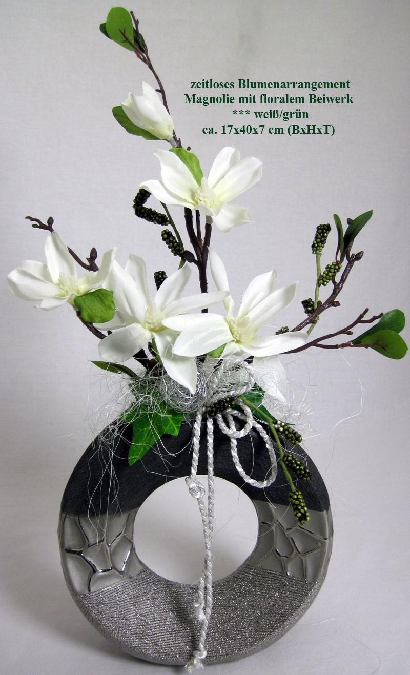 Künstliches Blumenarrangement Magnolie mit Kordel/Drahtkugel,runde Vase ca.40cm