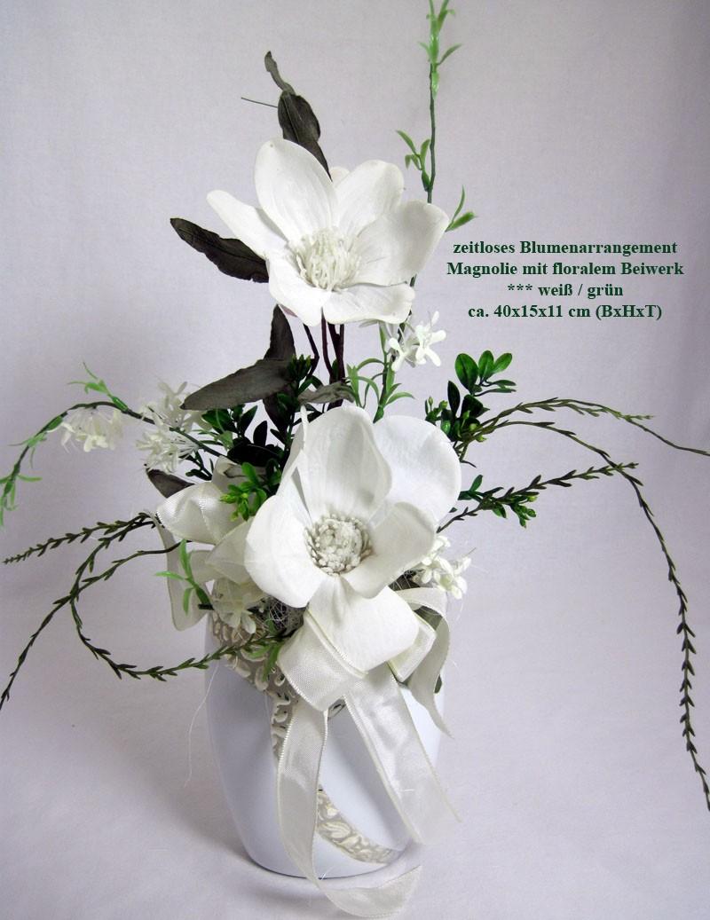 Künstliches Blumenarrangement Magnolie mit Glitzereffekt Vase Cerosa ca.40 cm