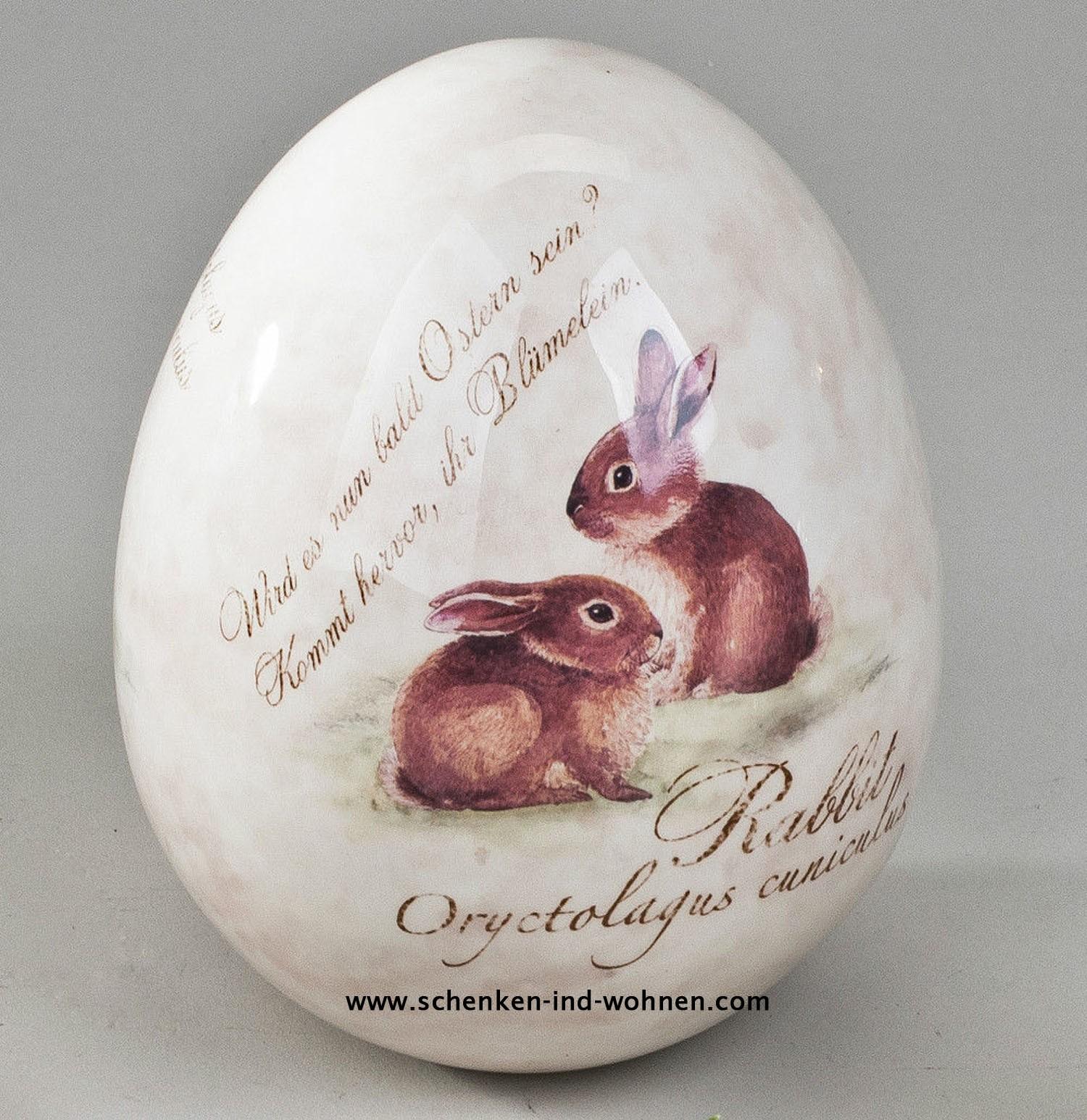 Formano 784421 Deko-Ei stehend 10 cm Frohe Ostern aus feinem, glasiertem Steingut gefertigt