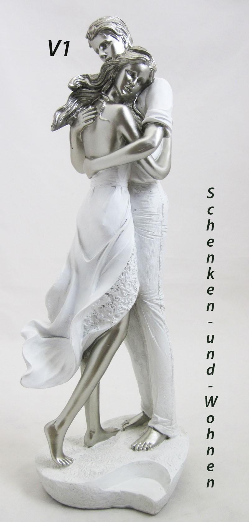 Liebespaar auf Herz, weiß-silber ca. 40 cm V1