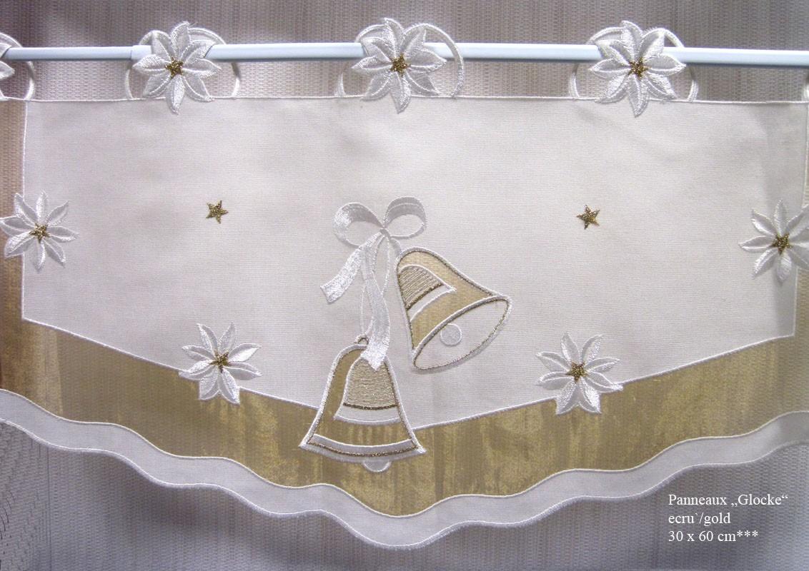 """Weihnachten Panneaux  """"Glocke"""" ecru`- gold ca. 30 x 60 cm (H/B)"""
