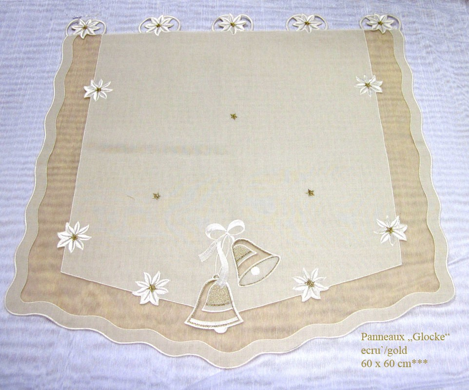 """Weihnachten Panneaux  """"Glocke"""" ecru`- gold ca. 60 x 60 cm (H/B)"""