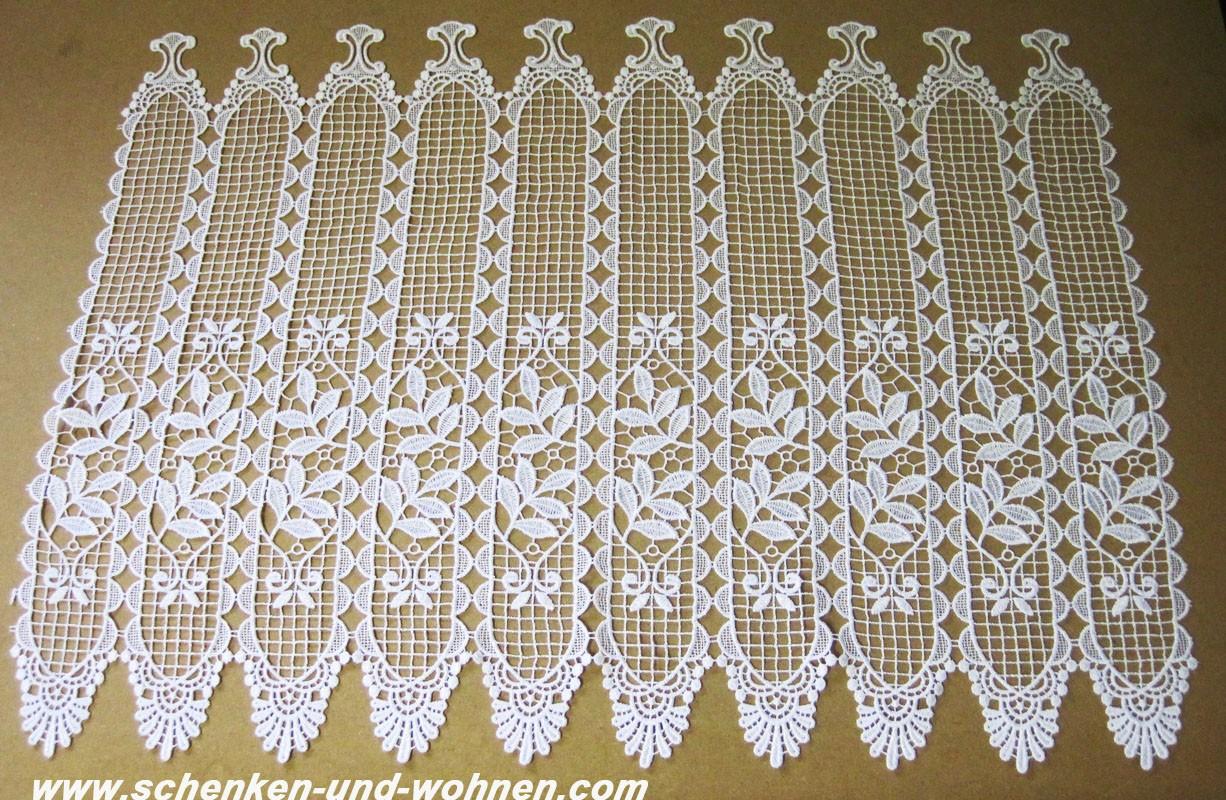 1 Stück Kurzgardine - Panneaux mit Macrameespitze Weiß ca. 8 cm breit, Höhe 60cm