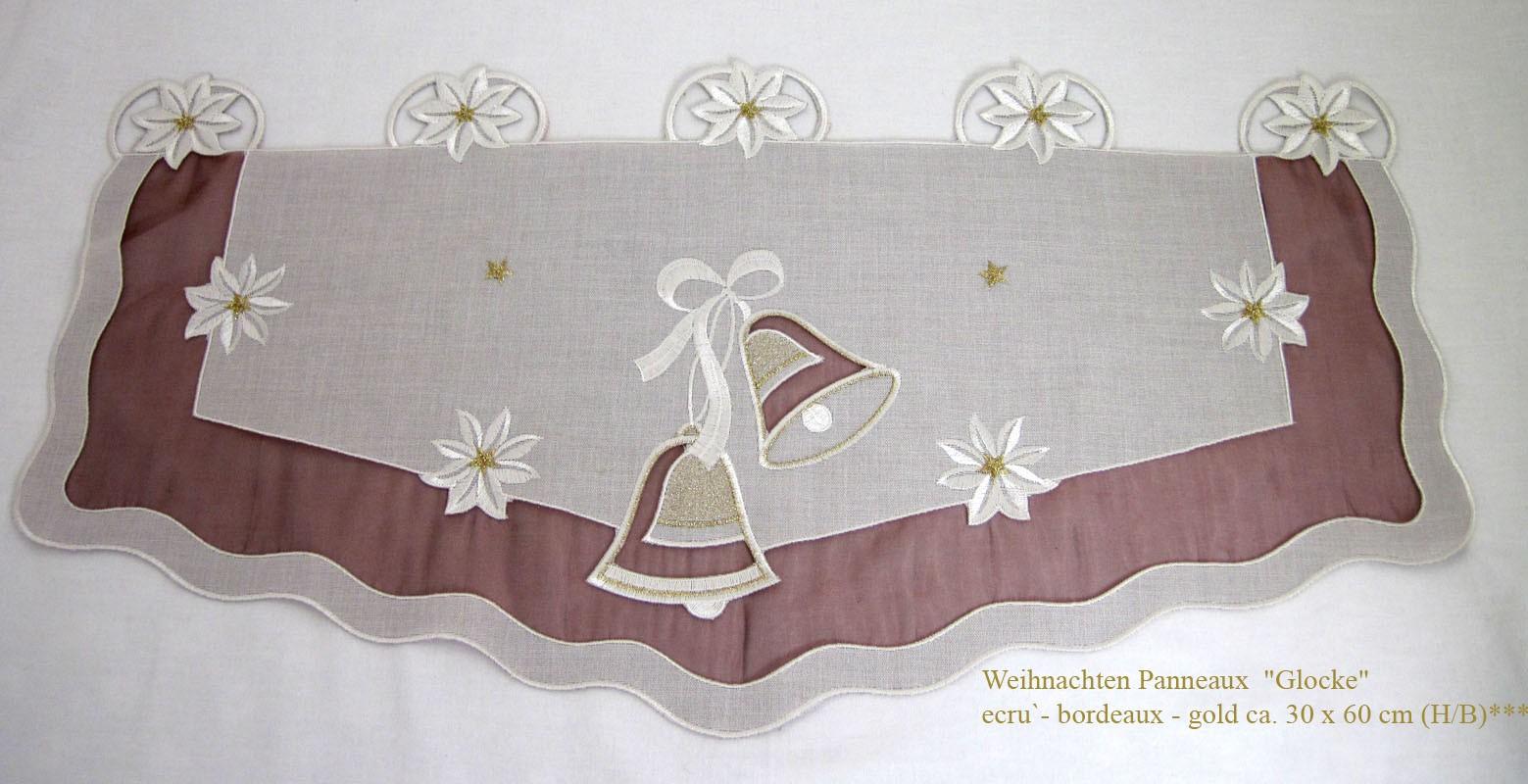 "Weihnachten Panneaux  ""Glocke"" ecru`-bordeaux-gold ca. 30 x 60 cm (H/B)"
