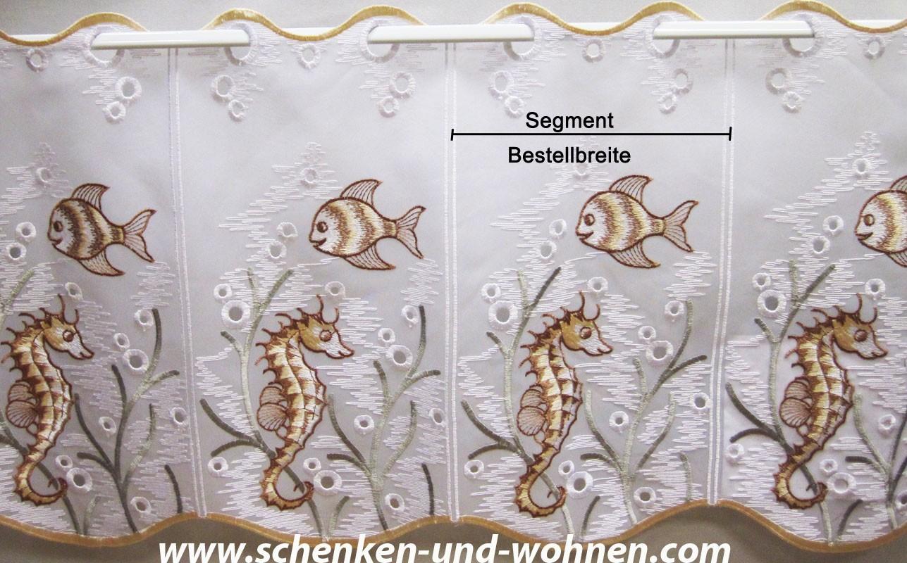 1 Stück Scheibengardine Fische in gelb/braun  ca. 16 cm breit, Höhe 33 cm