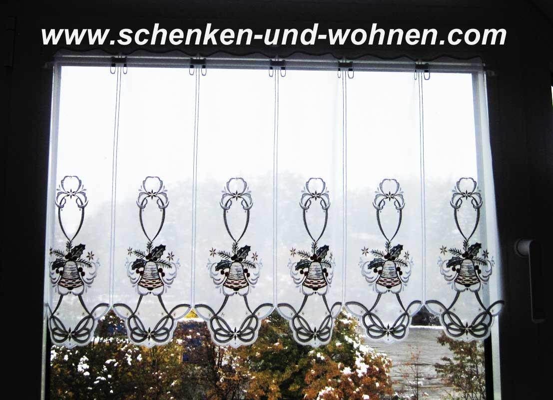 Weihnachtliche Kurzgardine - Panneaux  mit Glockenmotiv ca. 49 cm hoch
