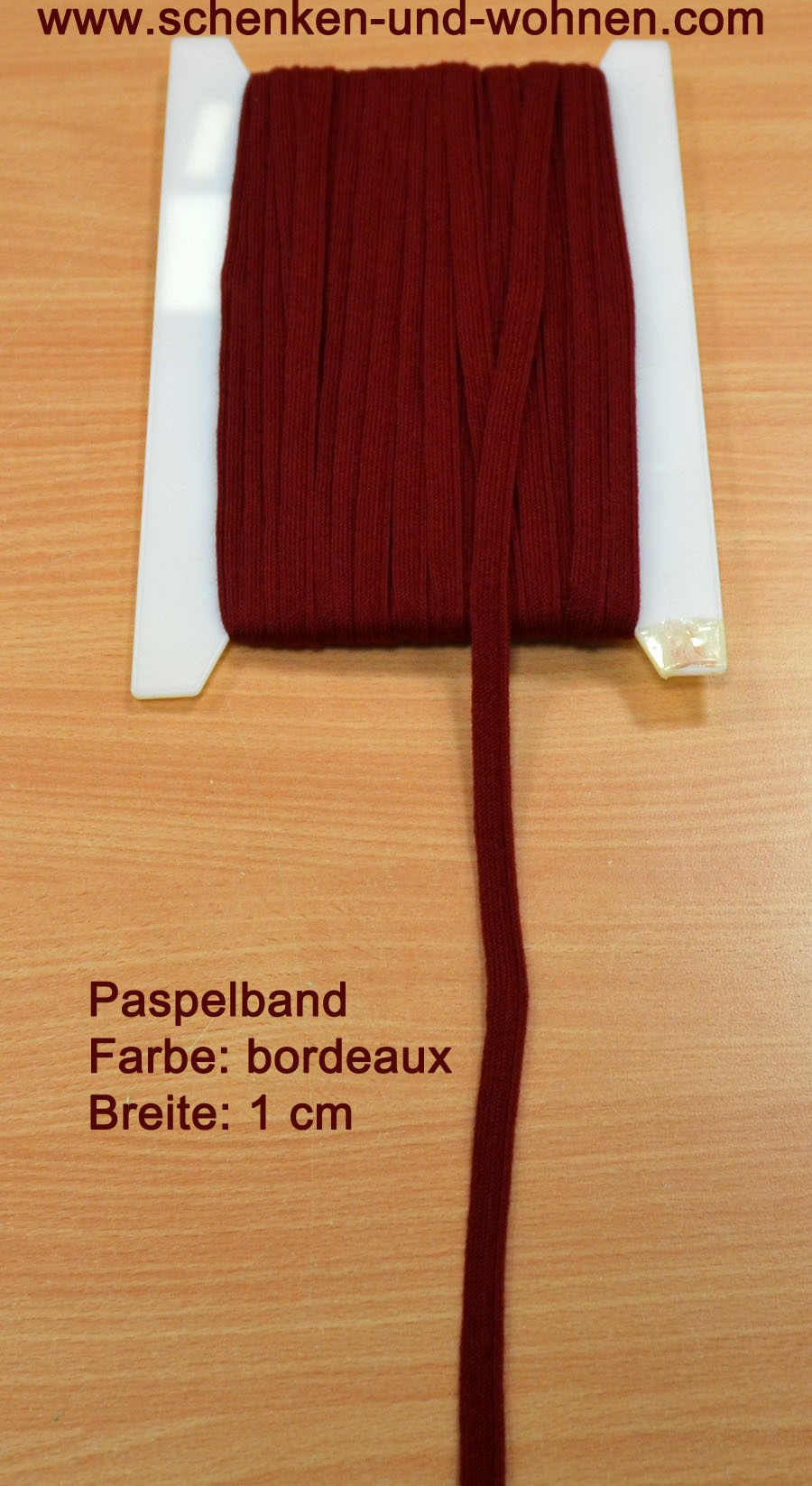 Paspel Keder Borte 1 cm breit bordeaux Meterware
