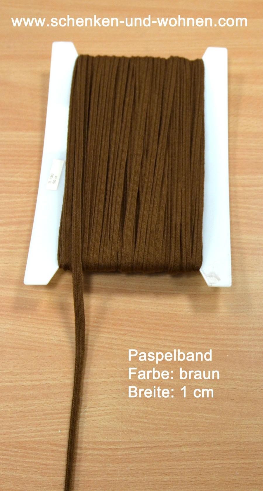 Paspel Keder Borte 1 cm breit braun Meterware