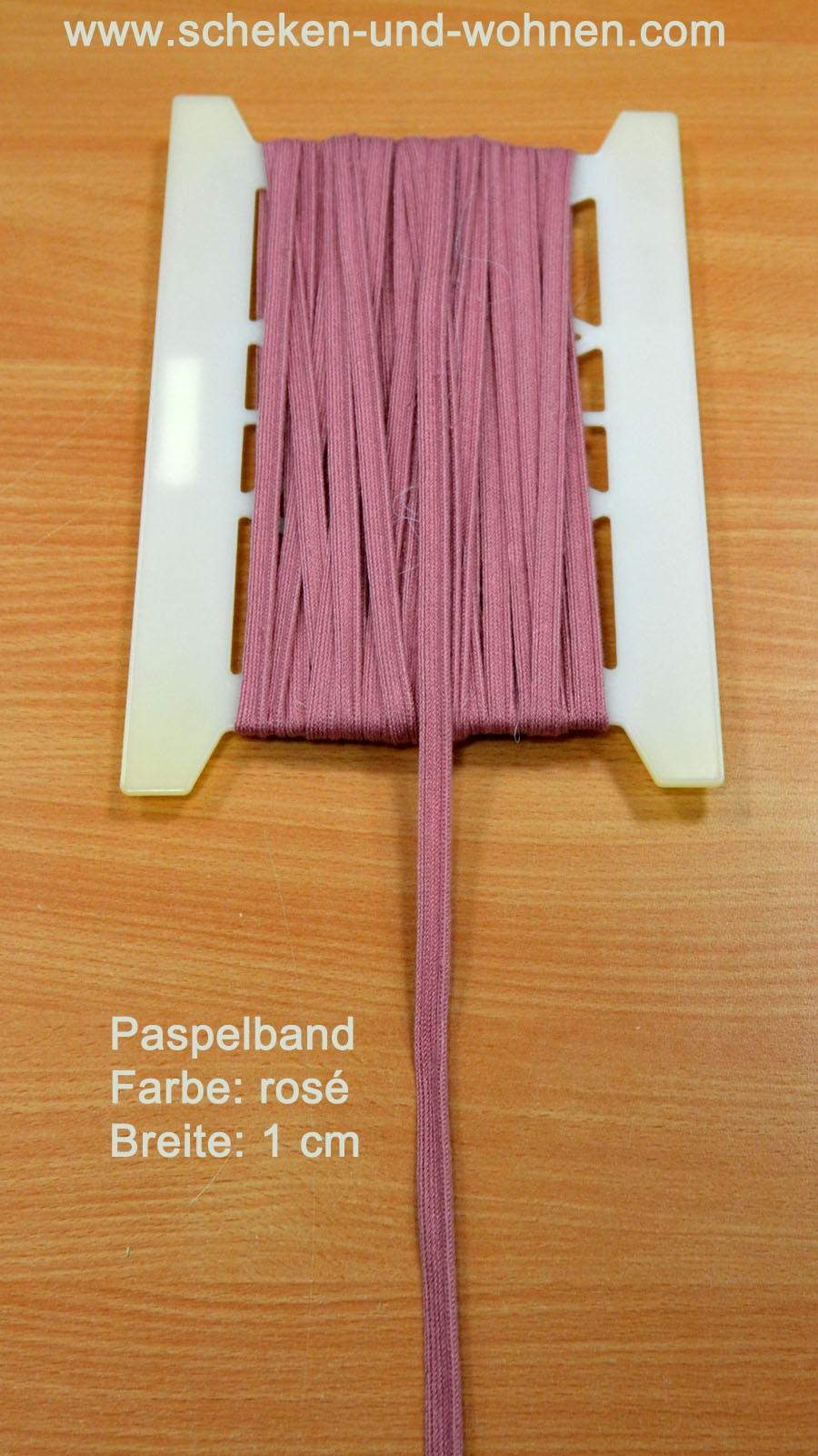 Paspel Keder Borte 1 cm breit rosé Meterware