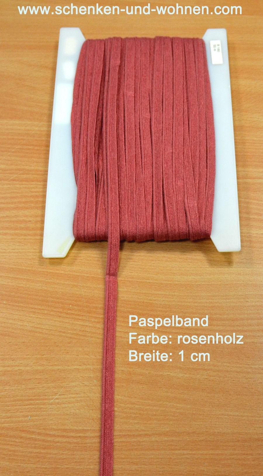Paspel Keder Borte 1 cm breit rosenholz Meterware