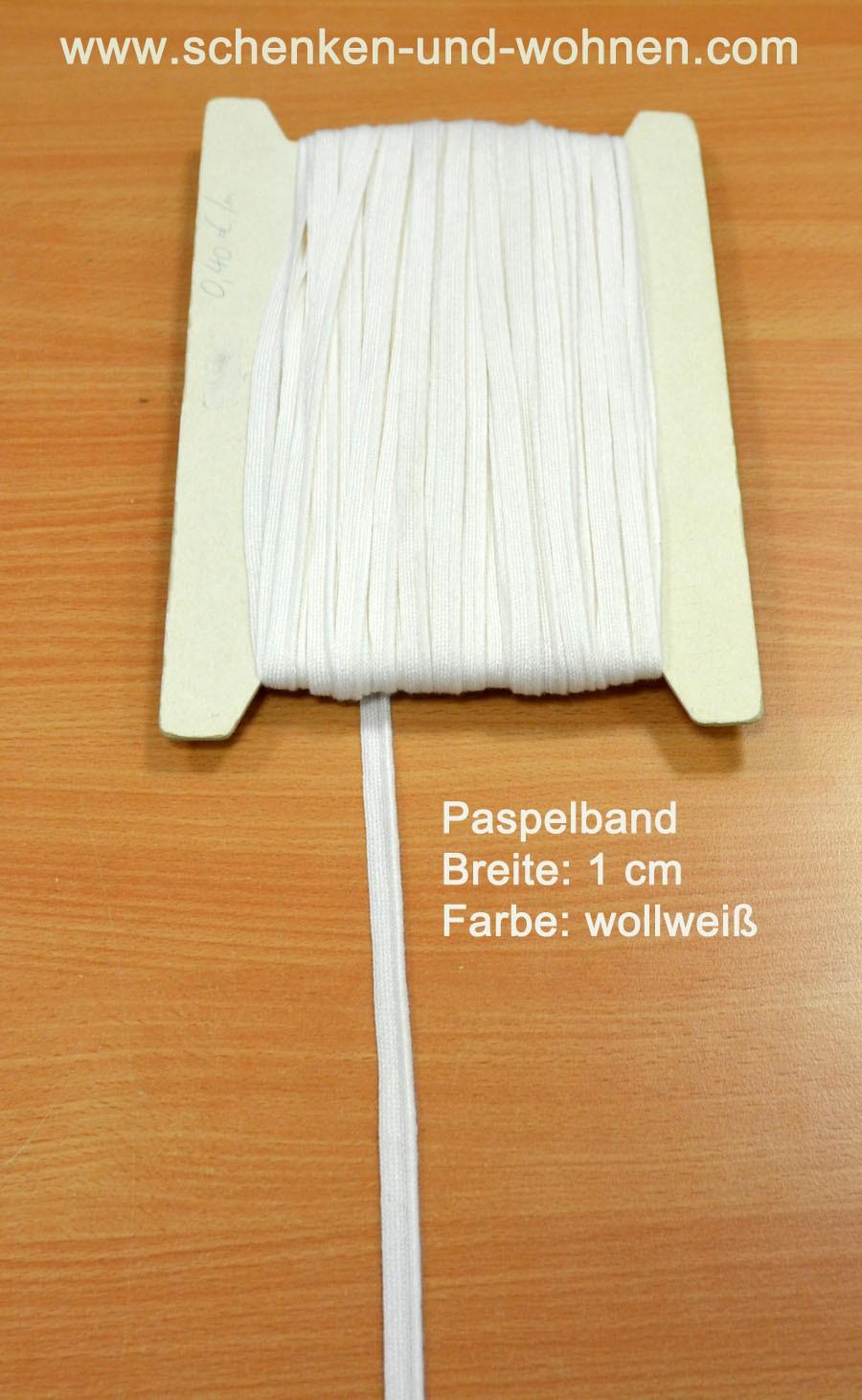 Paspel Keder Borte 1 cm breit wollweiß Meterware