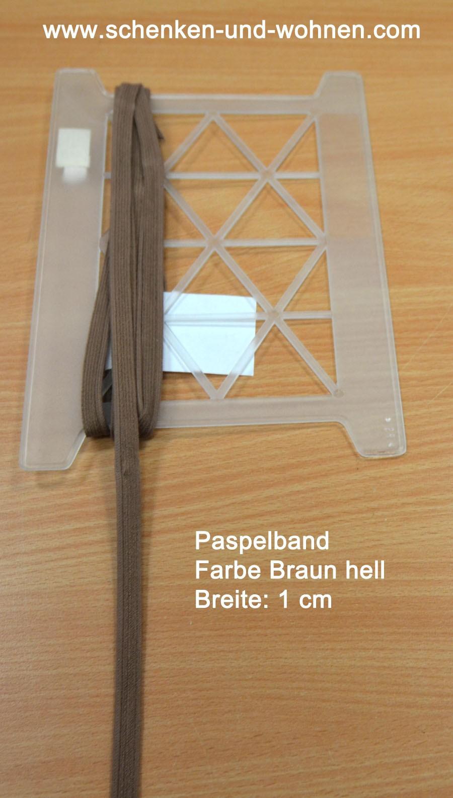 Paspel Keder Borte 1 cm breit hellbraun Meterware