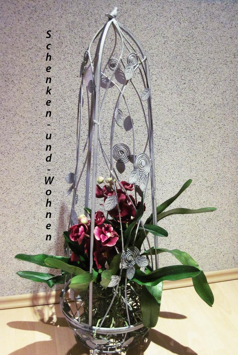 Blumen- und Dekorationssäule mit Rankhilfe Metall, antikgrau