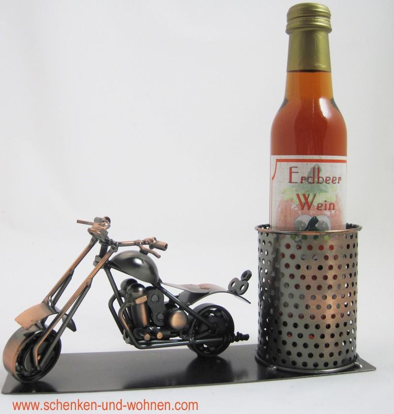 "Piccolo Flaschenhalter ""Motorrad"" bronze"