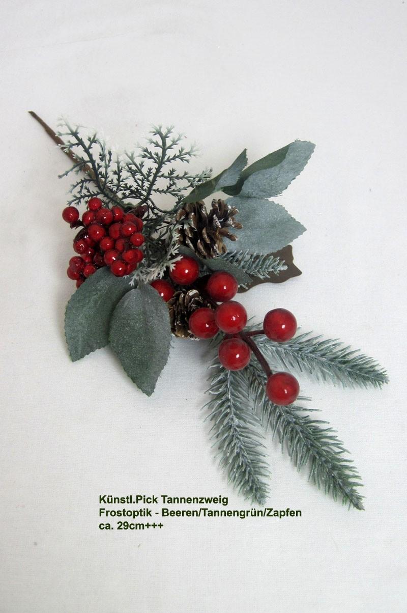 Künstl.Pick Tannenzweig Frostoptik Beeren/Tannengrün/Zapfen ca. 29cm