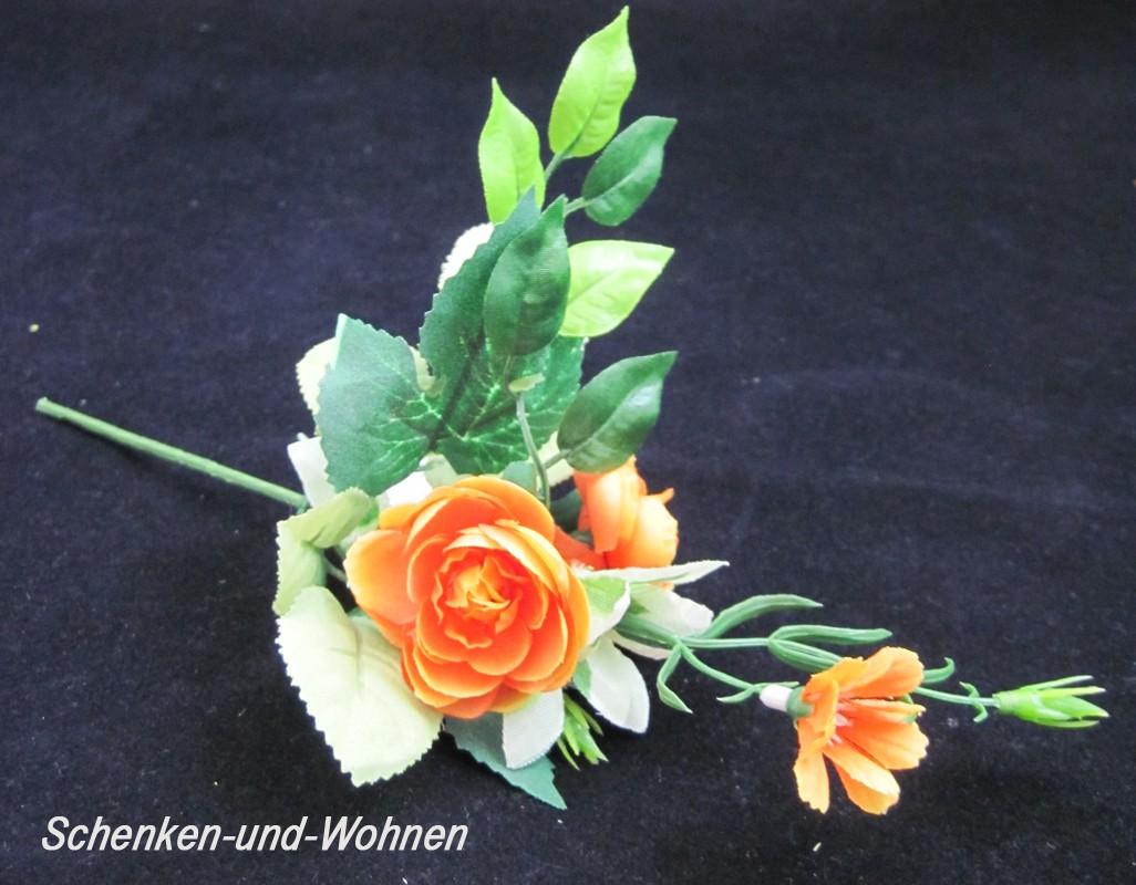 Künstlicher Pick - Rosen Orange mit grünen Blättern ca. 22 cm