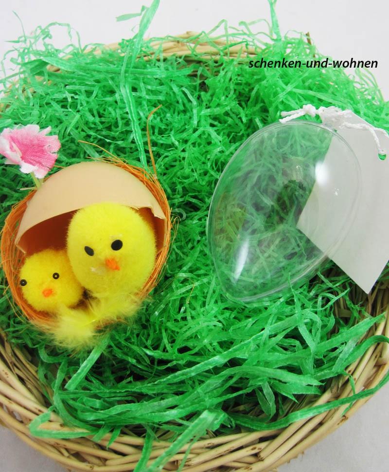 Kunststoff-Ei transparent 2-tlg. zum Basteln, Dekorieren.. ca. 6 cm