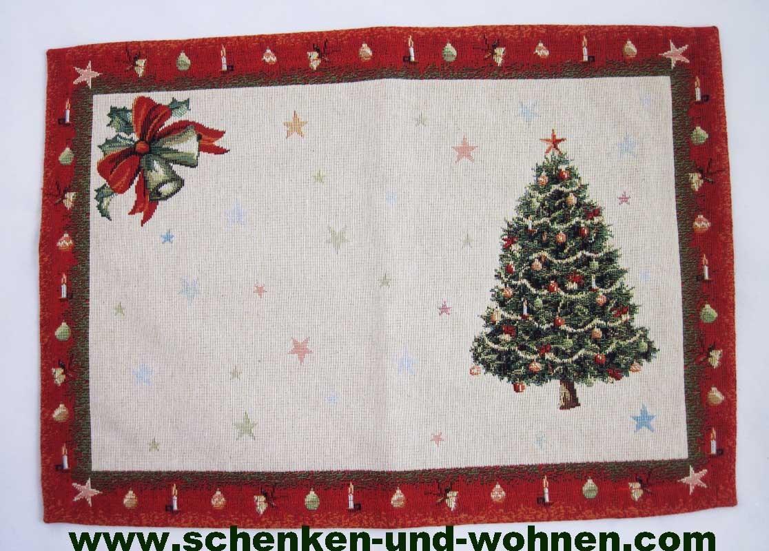 """Platzdeckchen """"Tannenbaum"""" Beige/Rot, Gobelin 30 x 43 cm"""