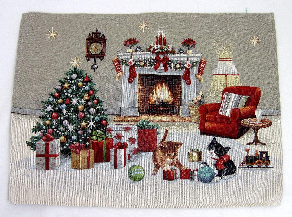 Platzset-Deckchen Katzenweihnacht rot abgepasst gesäumt ca. 38x48cm