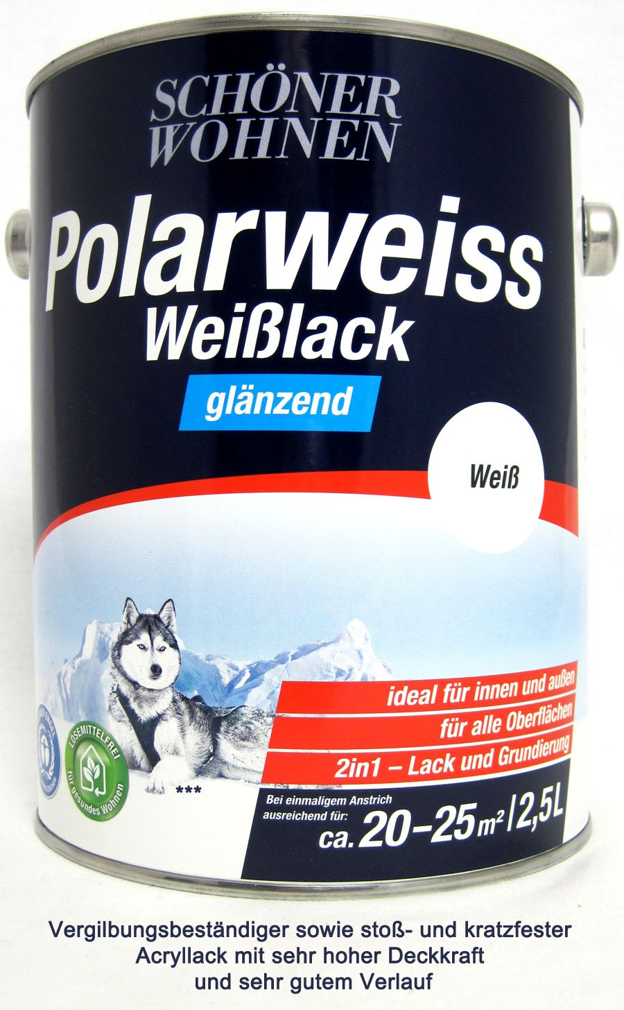 Polarweiss Weißlack 2,5 l glänzend Acryl-Lack