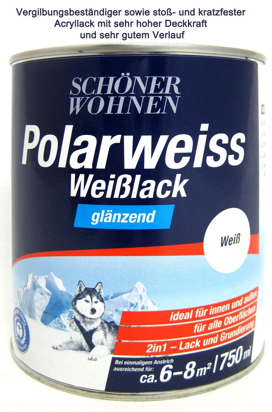 Polarweiss Weißlack 750 ml glänzend Acryl-Lack