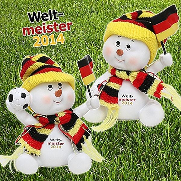 Poly-Fußball Schneekind schwarz/rot/gold 11,5 x 9 x 12,5 cm