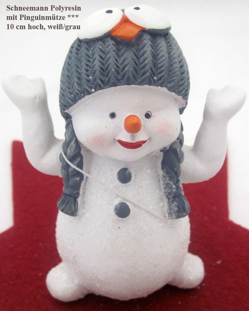 Lustiger kleiner Schneemann mit Pinguinmütze weiß-grau,ca.10x6x5cm