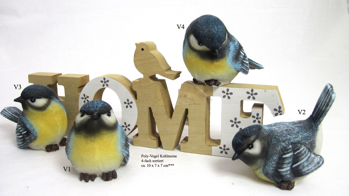 1 Poly-Vogel Kohlmeise sortiert, blau-gelb, ca. 10 x 7 x 7 cm