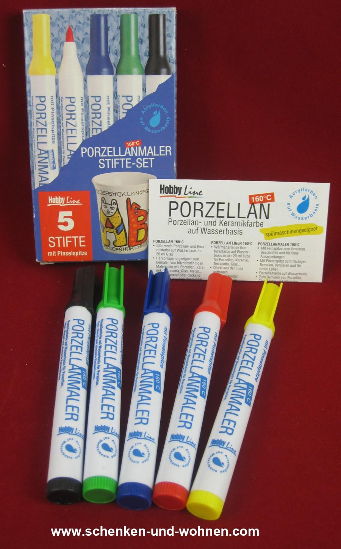 Porzellanmaler-Stifteset 5 Stifte mit Pinselspitze