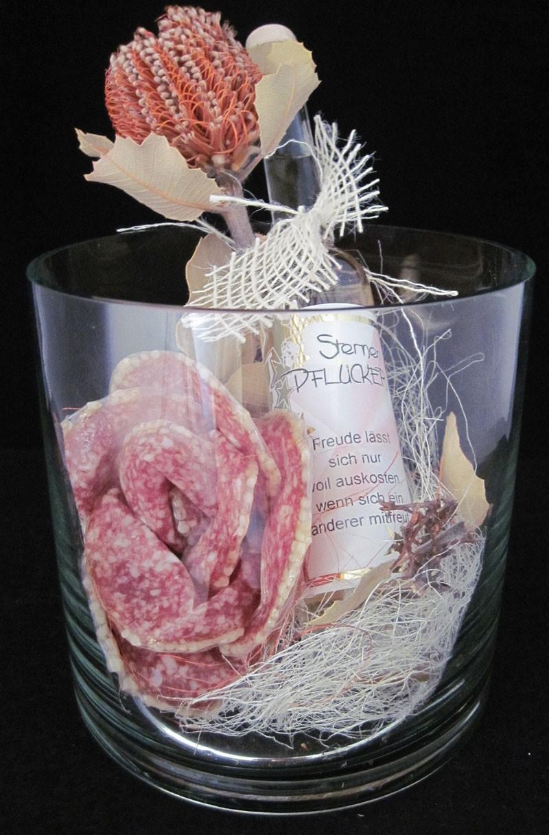 """Präsent-Glas mit Wurstrose ohne """"Sternenpflücker-Liköre"""""""