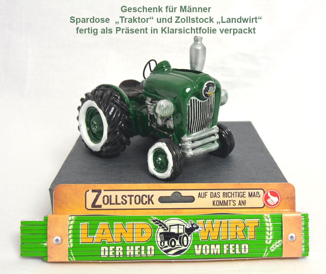Geschenk für Männer Spardose Traktor grün mit Zollstock