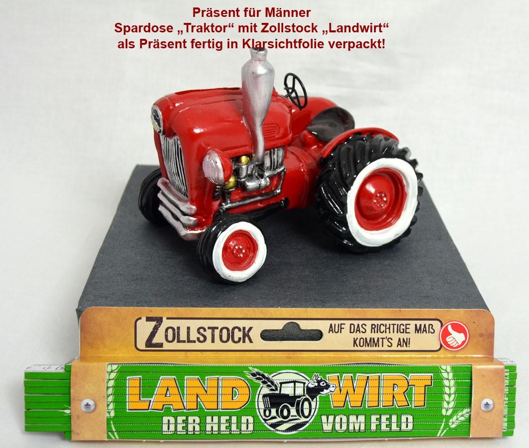 Geschenk für Männer Spardose Traktor rot mit Zollstock