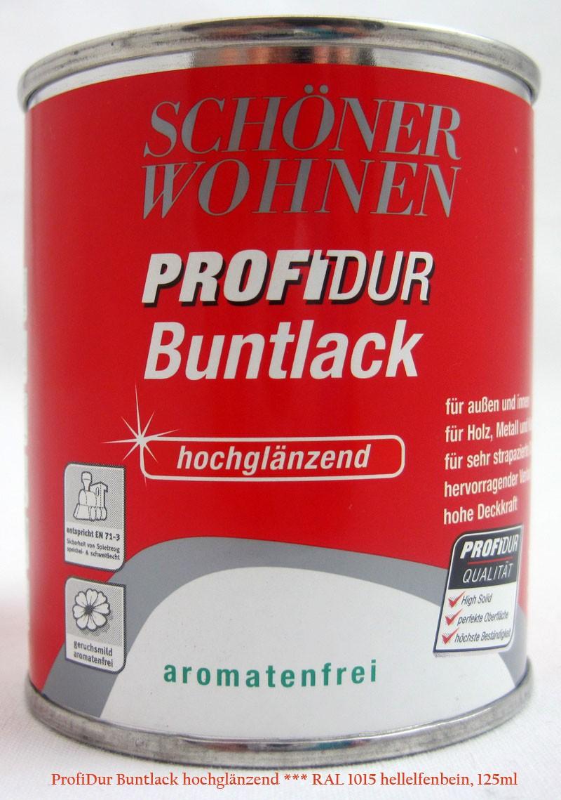 ProfiDur Buntlack RAL 1015 hellelfenbein hochglänzend 125 ml Kunstharzlack