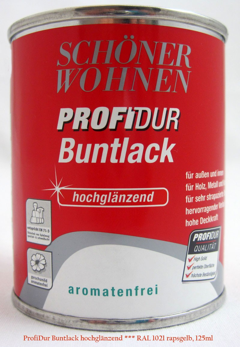 ProfiDur Buntlack RAL 1021 rapsgelb hochglänzend 125 ml Kunstharzlack