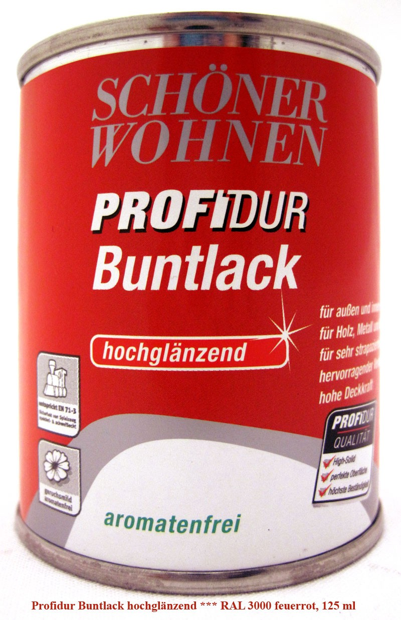ProfiDur Buntlack RAL 3000 feuerrot hochglänzend 125 ml Kunstharzlack