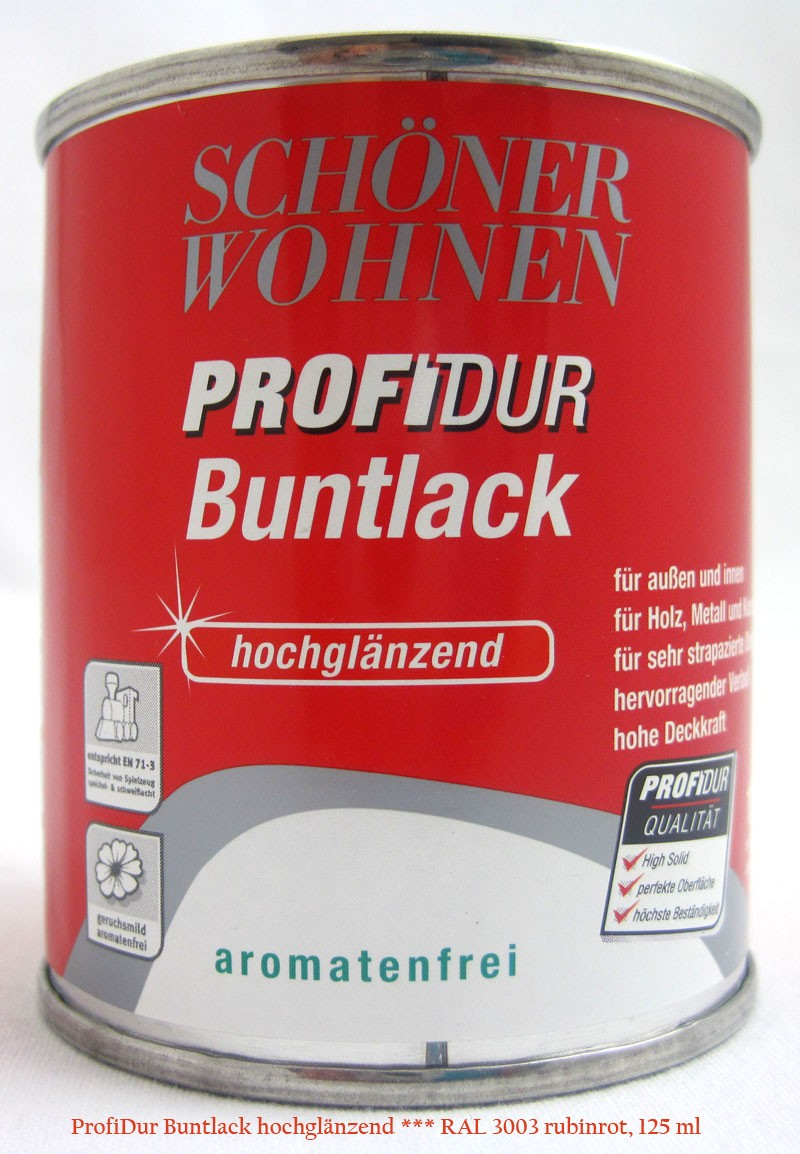 ProfiDur Buntlack RAL 3003 rubinrot hochglänzend 125 ml Kunstharzlack