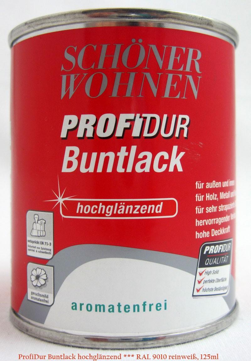 ProfiDur Buntlack RAL 9010 reinweiß hochglänzend 125 ml Kunstharzlack