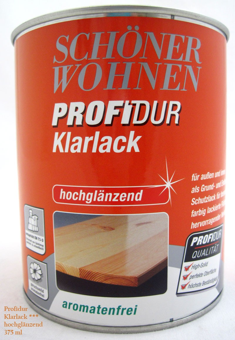 ProfiDur Klarlack - Alkydharzlack, hochglänzend, farblos, 375 ml