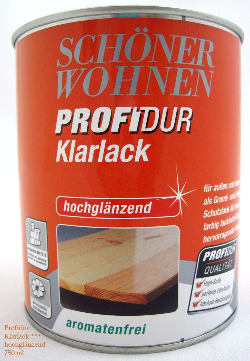 ProfiDur Klarlack - Alkydharzlack, hochglänzend, farblos, 750 ml
