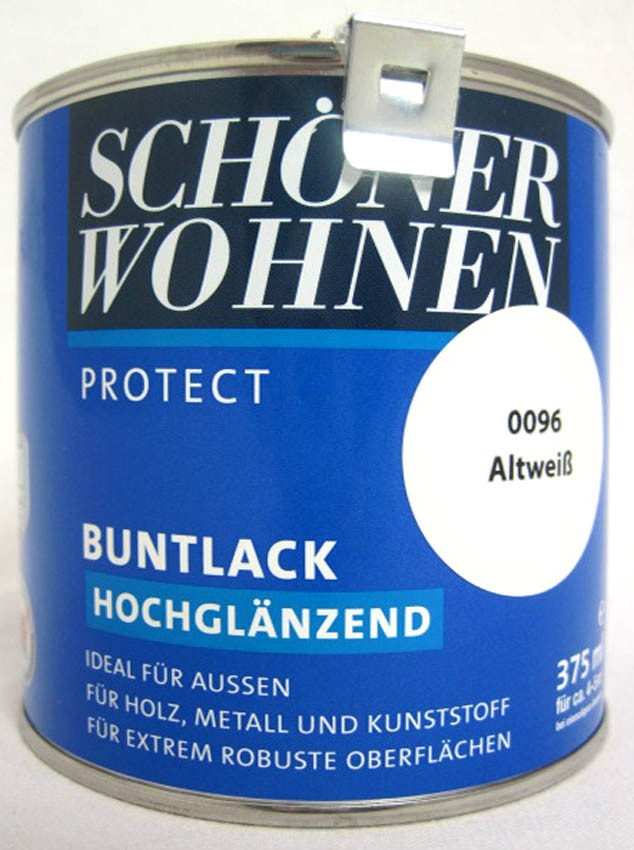 Protect Buntlack 375 ml Fb.-Nr.:0096 Altweiß hochglänzend, Alkydharzlack SW
