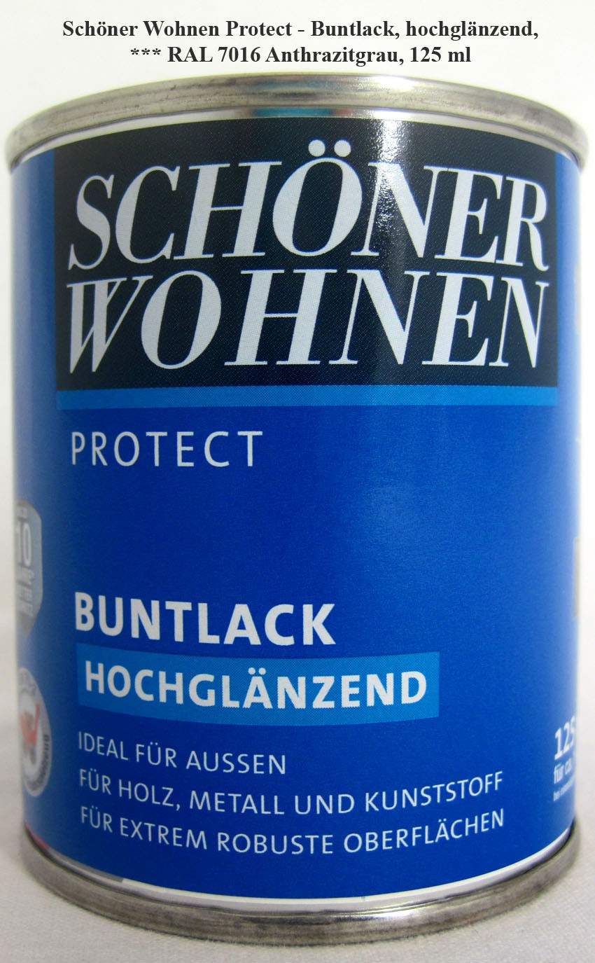Protect Buntlack 125 ml, RAL 7016 Anthrazitgrau hochglänzend, Alkydharzlack SW