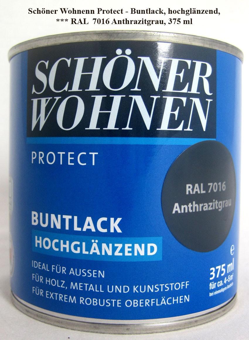 Protect Buntlack 375 ml, RAL 7016 Anthrazitgrau hochglänzend, Alkydharzlack SW